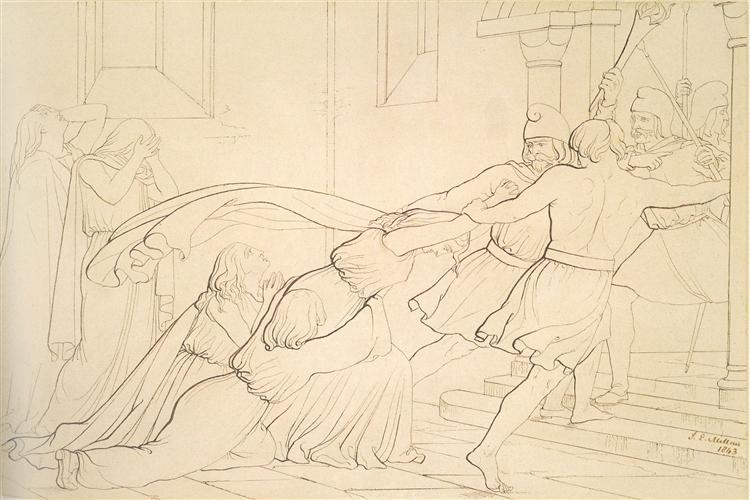 Elgiva seized byorder of Odo, Archbishop of Canterbury, 1842 - John Everett Millais