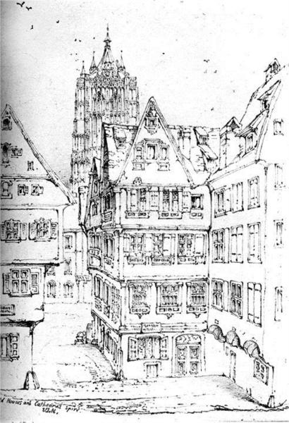Houses and Cathedral Spire Ulm, 1835 - John Ruskin