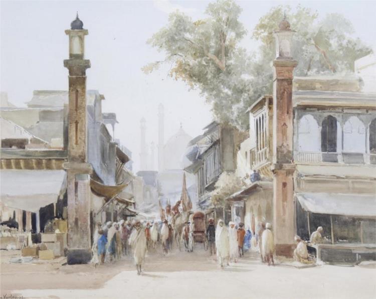 Street Scene, India, 1892 - John Varley II