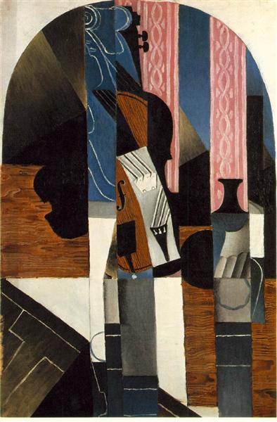 Violin And Ink Bottle On A Table 1913 Juan Gris
