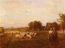 The Shepherd - Jules Breton