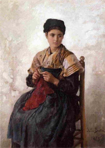 Young Woman Knitting, 1873 - Jules Breton