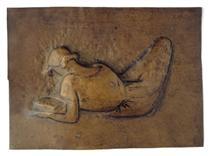 Femme étendue lisant - Julio Gonzalez