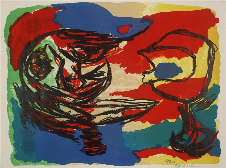 Heads in a Colourful Landscape, 1965 - Karel Appel