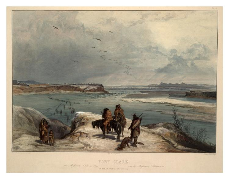 Fort Clark on the Missouri, February 1834, plate 15 from Volume 2 of 'Travels in the Interior of North America', 1843 - Karl Bodmer