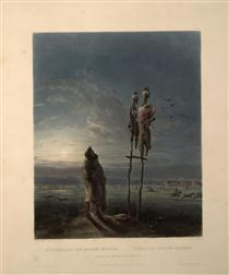 Idols of the Mandan Indians, plate 25 from volume 2 of `Travels in the Interior of North America' - Karl Bodmer