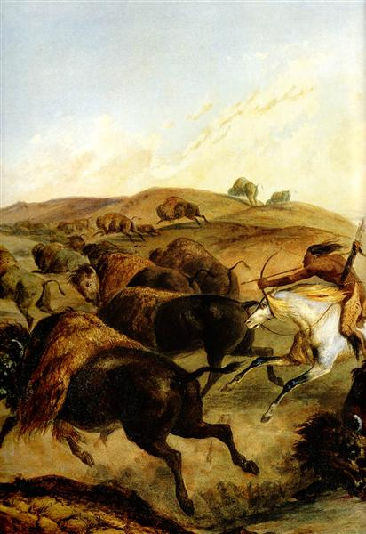Indians Hunting The Bison [ Left ], 1832 - Karl Bodmer