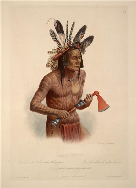 Mato-Tope, Adorned with the Insignia of his Warlike Deeds, plate 14 from Volume 2 of 'Travels in the Interior of North America', 1843 - Karl Bodmer