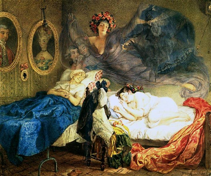 Сон бабушки и внучки, 1829 - Карл Брюллов