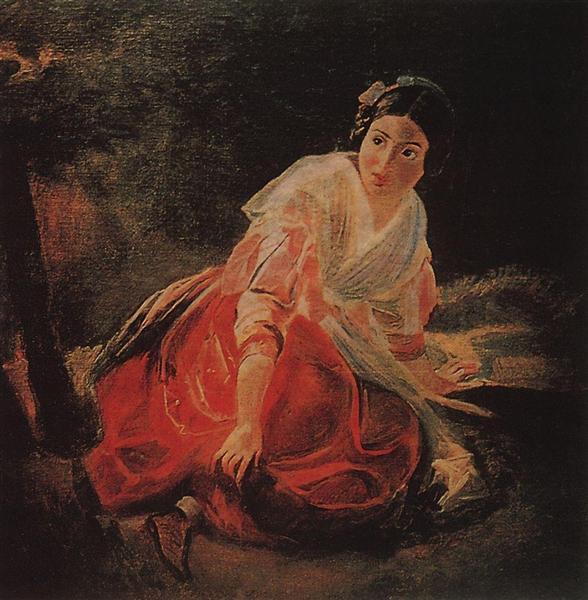 Girl in a Forest, 1850 - 1851 - Karl Briulov