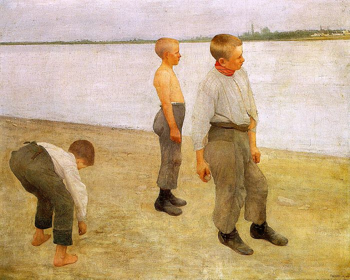 Boys Throwing Pebbles into the River, 1890 - Károly Ferenczy