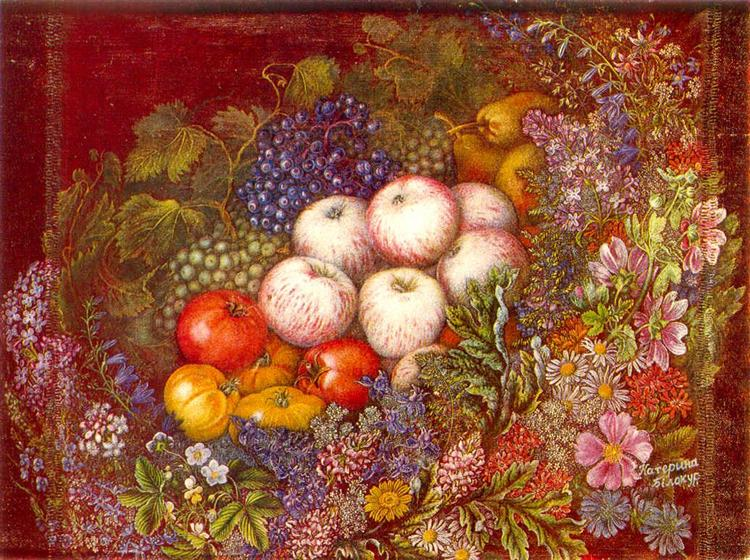 "Still life ""Flowers, apples, tomatoes"", 1950 - Kateryna Bilokur"