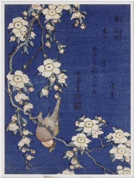 Bullfinchandweeping cherryblossoms, 1834 - Katsushika Hokusai