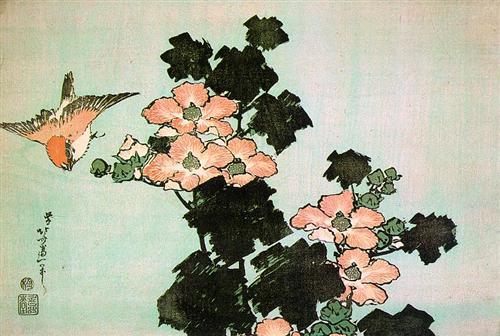 Hibiscus and Sparrow - Katsushika Hokusai
