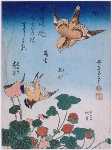 Trago y begonia y fresa pastel - Katsushika Hokusai