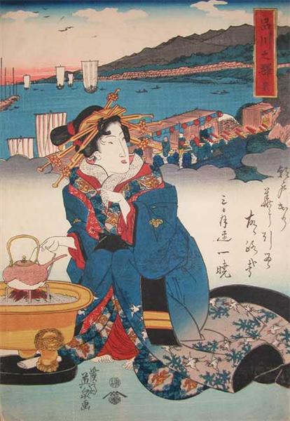 Shinagawa: Hot Tea, 1845 - Keisai Eisen