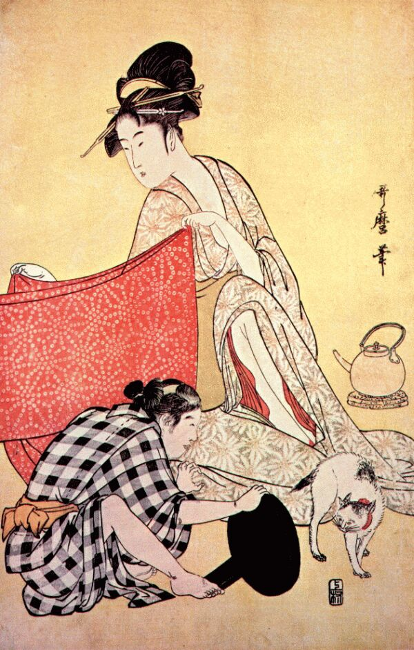 women making dresses kitagawa utamaro wikiartorg