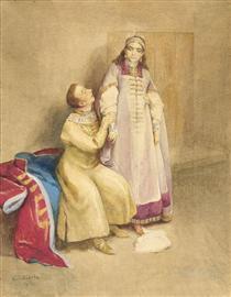 False Dmitry I and Princess Xenia Godunova - Klavdi Lébedev