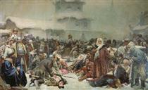 Martha the Mayoress. Destruction of Novgorod by Ivan III. - Klavdi Lébedev