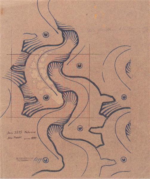 Fabric design with moving waves for Backhausen, 1902 - Koloman Moser