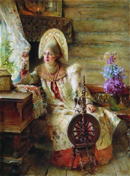 Boyaryshnya by the window, c.1890 - Konstantin Makovsky