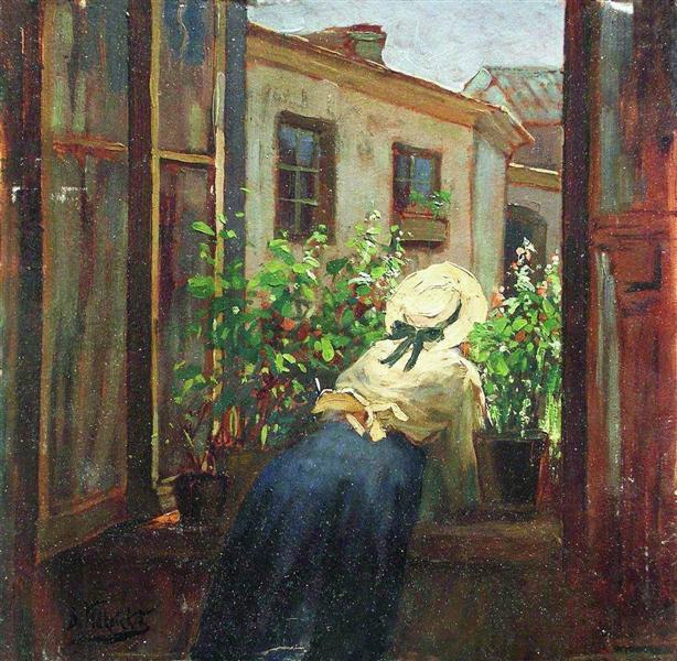 By the open window, c.1910 - Konstantin Makovsky