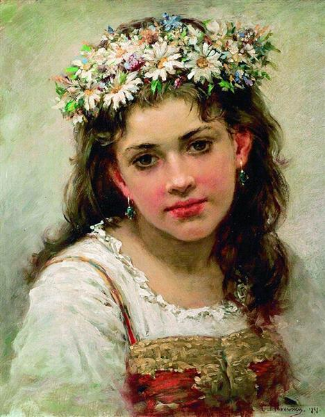 Head of the Girl, 1889 - Konstantin Makovsky