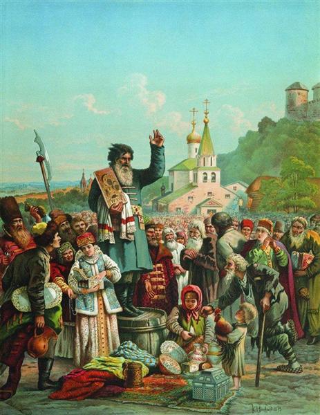 Proclamation of Kuzma Minin in Nizhny Novgorod in 1611 - Konstantin Makovsky