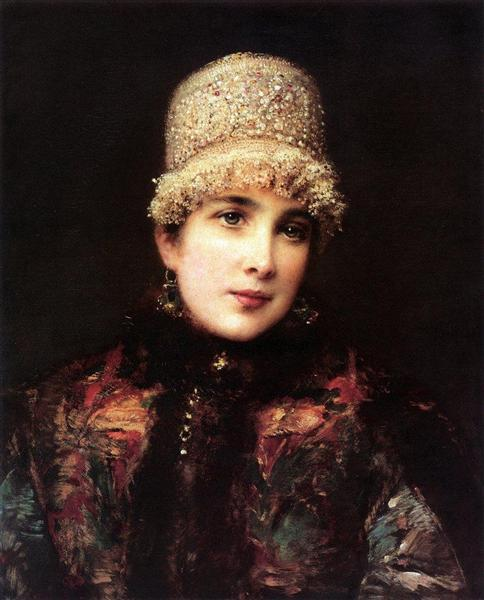 Russian Beauty in Kokoshnik, c.1890 - Konstantin Makovsky