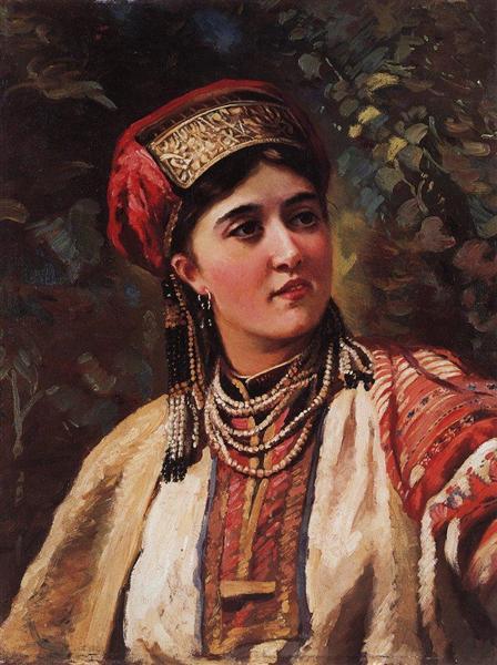 Woman in a national costume - Konstantin Makovsky