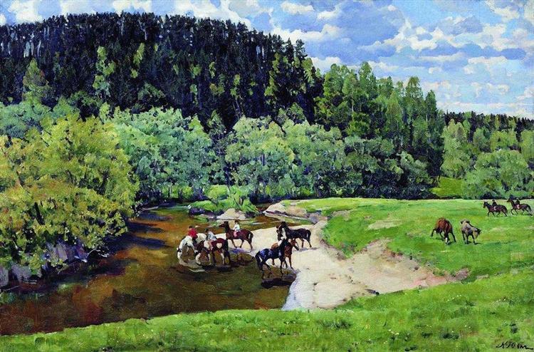 Freedom. Watering (Ligacheva), 1917 - Konstantin Yuon