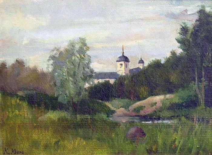 Landscape with a church - Konstantin Yuon