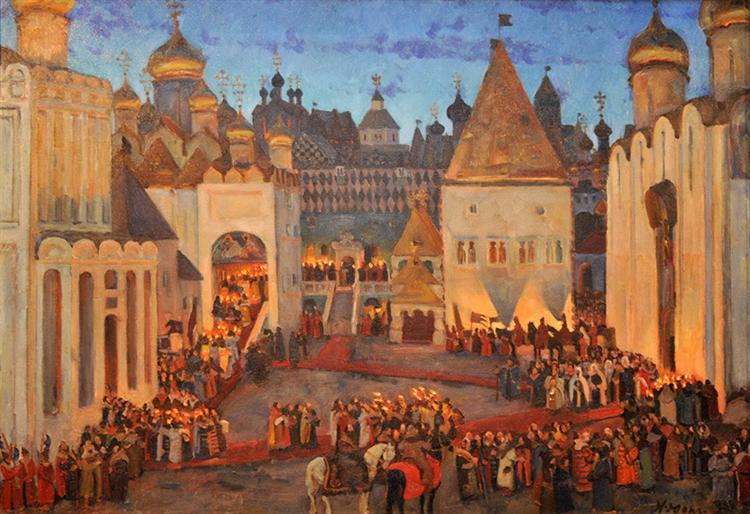 Mikhail Fyodorovitch coronation at 1613. Sobornaya Square. Moscow Kremlin, 1913 - Konstantin Yuon