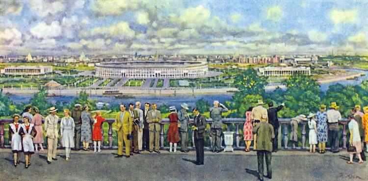 Moscow. View of the Lenin Stadium in Luzhniki, 1956 - Konstantin Yuon