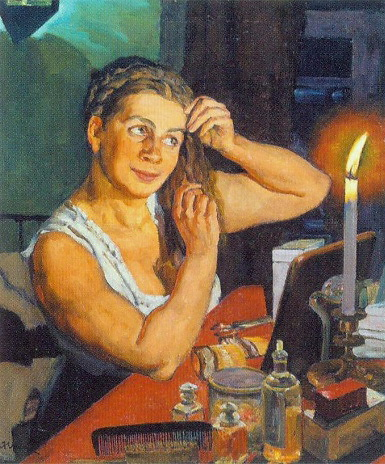 Night time. Portrait of the artist's wife Klavdiya Yuon, 1911 - Konstantin Yuon