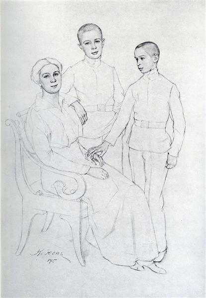 The Family Portrait (Klavdiya Yuon, artist's wife, and sons Boris and Igor), 1915 - Константин Юон