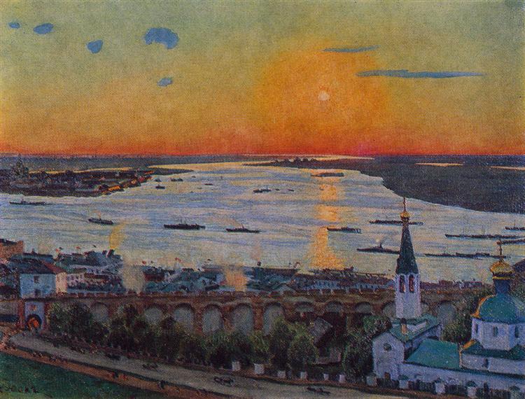The Sunset on Volga. Nizhny Novgorod, 1911 - Konstantin Yuon