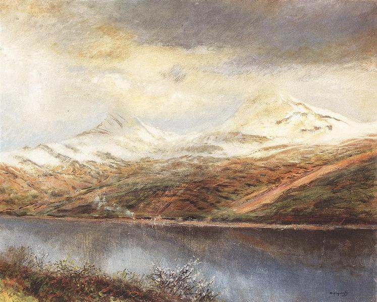 Mountain Landscape with Lake - Laszlo Mednyanszky