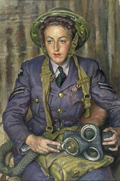 Corporal J. M. Robins, Women's Auxiliary Air Force, 1941 - Laura Knight