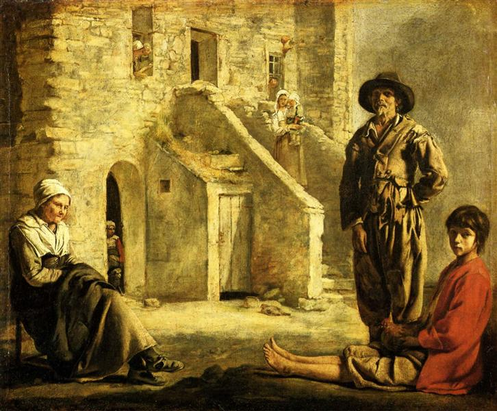 Peasants at their Cottage Door, c.1645 - Le Nain brothers