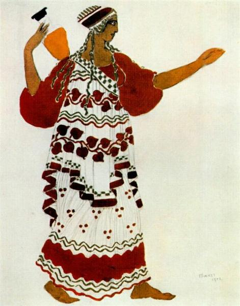 "Эскиз костюма к балету  ""Послеполуденный отдых фавна"" - Нимфа, 1912 - Леон Бакст"