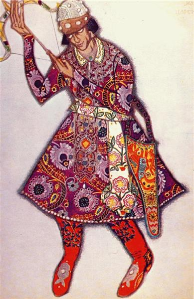 The Firebird, Michel Fokine as tsarevitch, 1910 - Léon Bakst