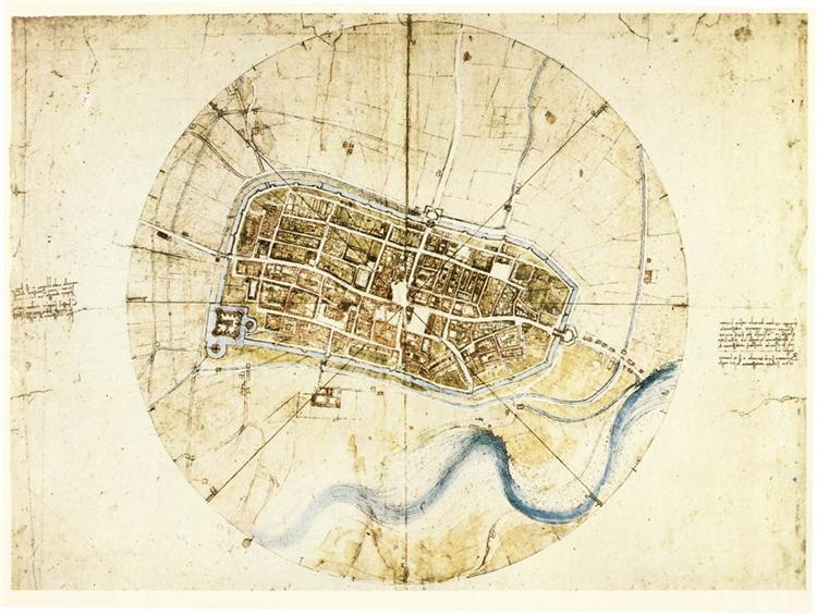 A plan of Imola, 1502 - Leonardo da Vinci
