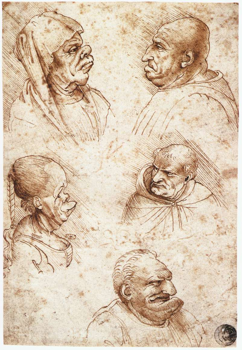 Five caricature heads, 1490