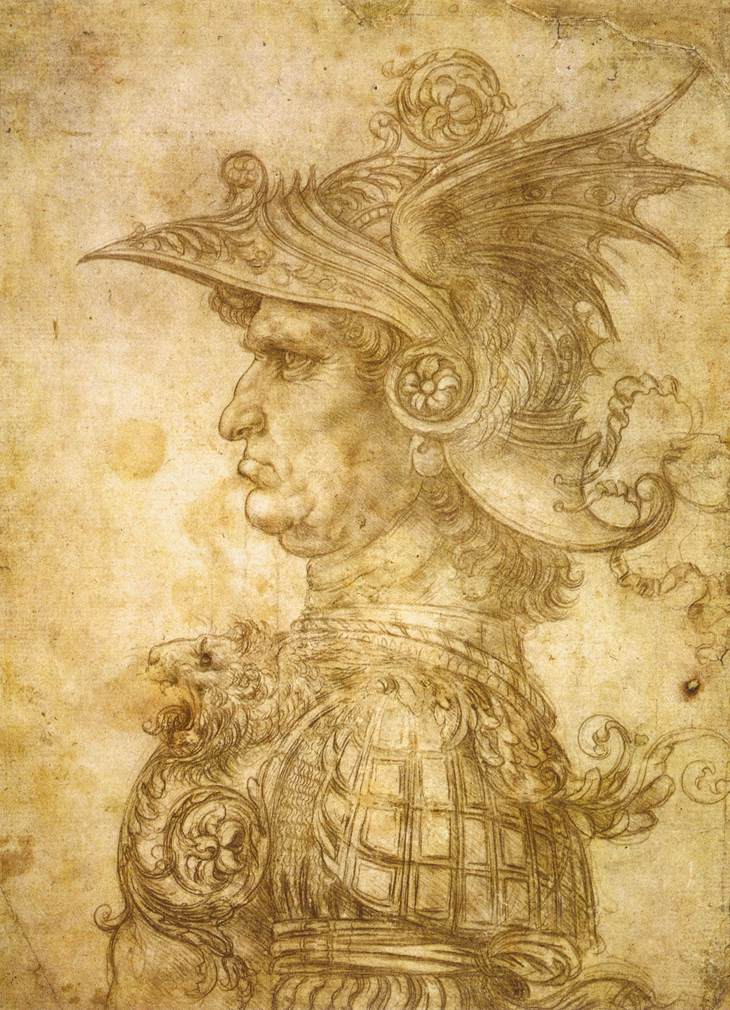 Profile of a warrior in helmet, 1472