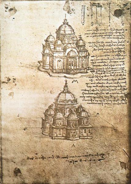 Studies of central plan buildings, 1480 - Leonardo da Vinci