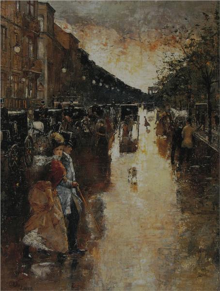 Unter den Linden nach dem Regen, 1888 - Лессер Ури