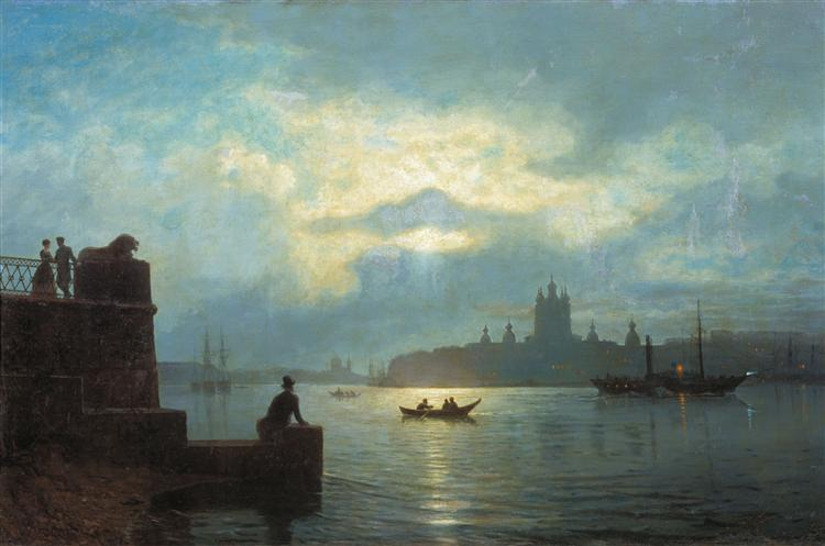 Moonlit night at Neva, 1898 - Lev Lagorio