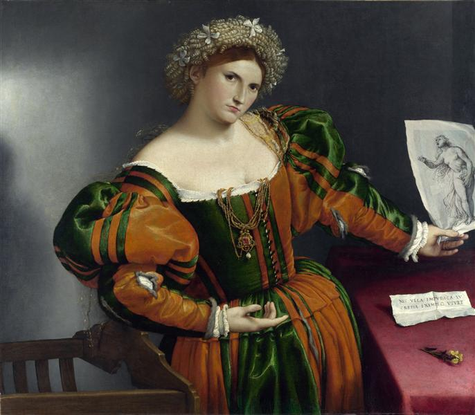 A Lady with a Drawing of Lucretia - Lorenzo Lotto