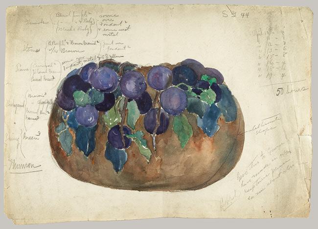 Sketch of enamel bowl, 1899 - Louis Comfort Tiffany